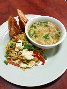 Curried Crab Soup, Panko-Crusted Ham and Cheese Croquette, and Egg Noodles with Tofu and Vegetables